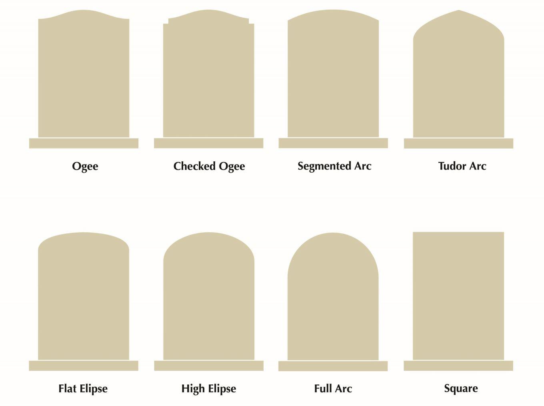 Headstones, Gravestones and Grave Stones memorial shapes