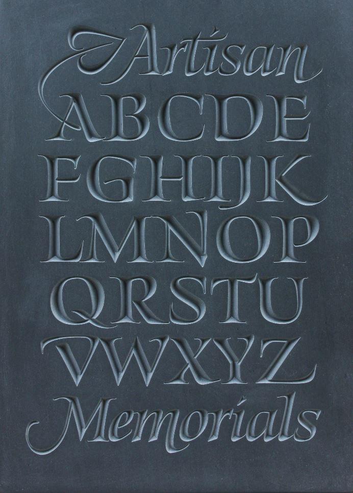 Alphabet carved into Slate